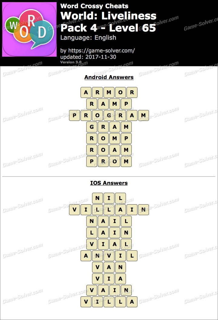 Word Crossy Liveliness Pack 4 Level 65 Answers