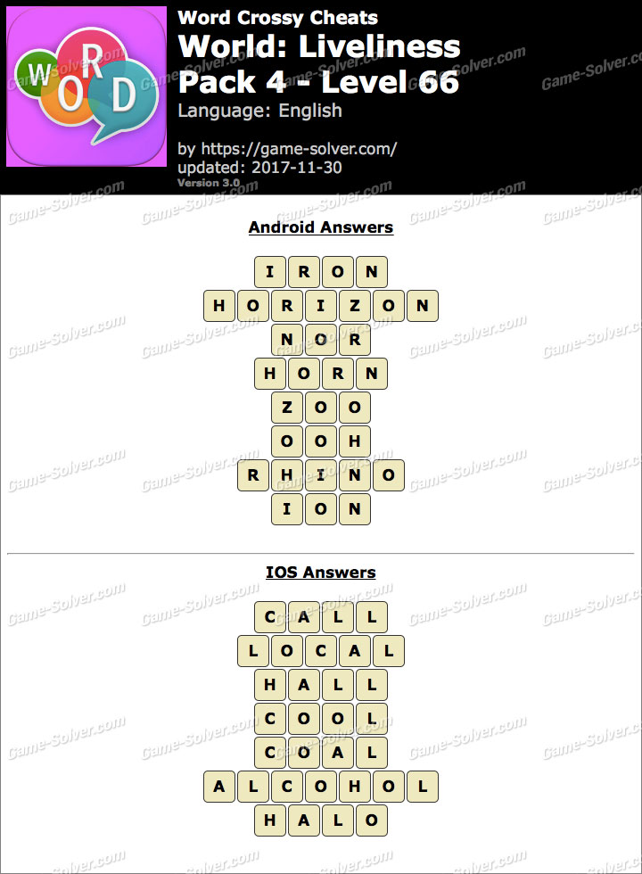 Word Crossy Liveliness Pack 4 Level 66 Answers