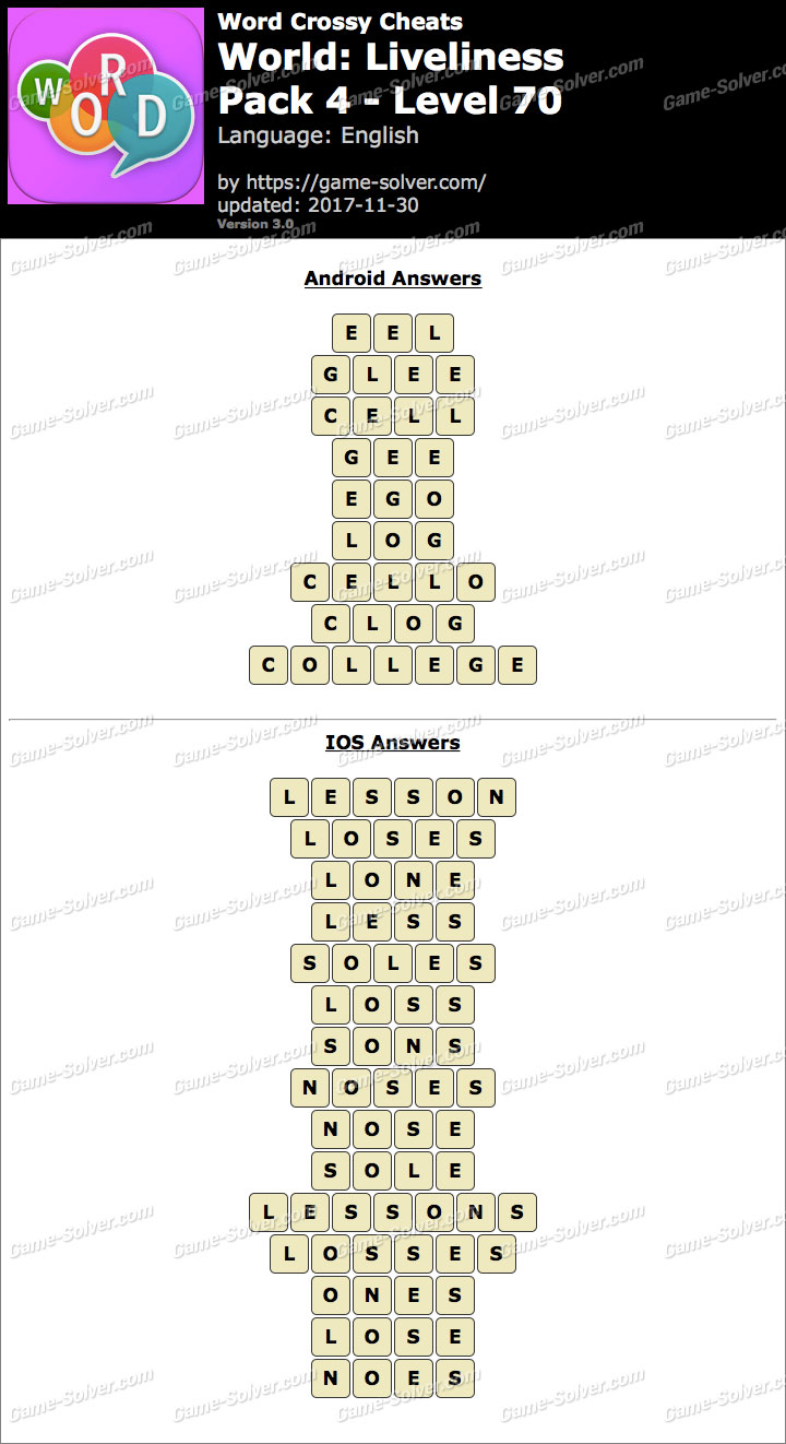 Word Crossy Liveliness Pack 4 Level 70 Answers