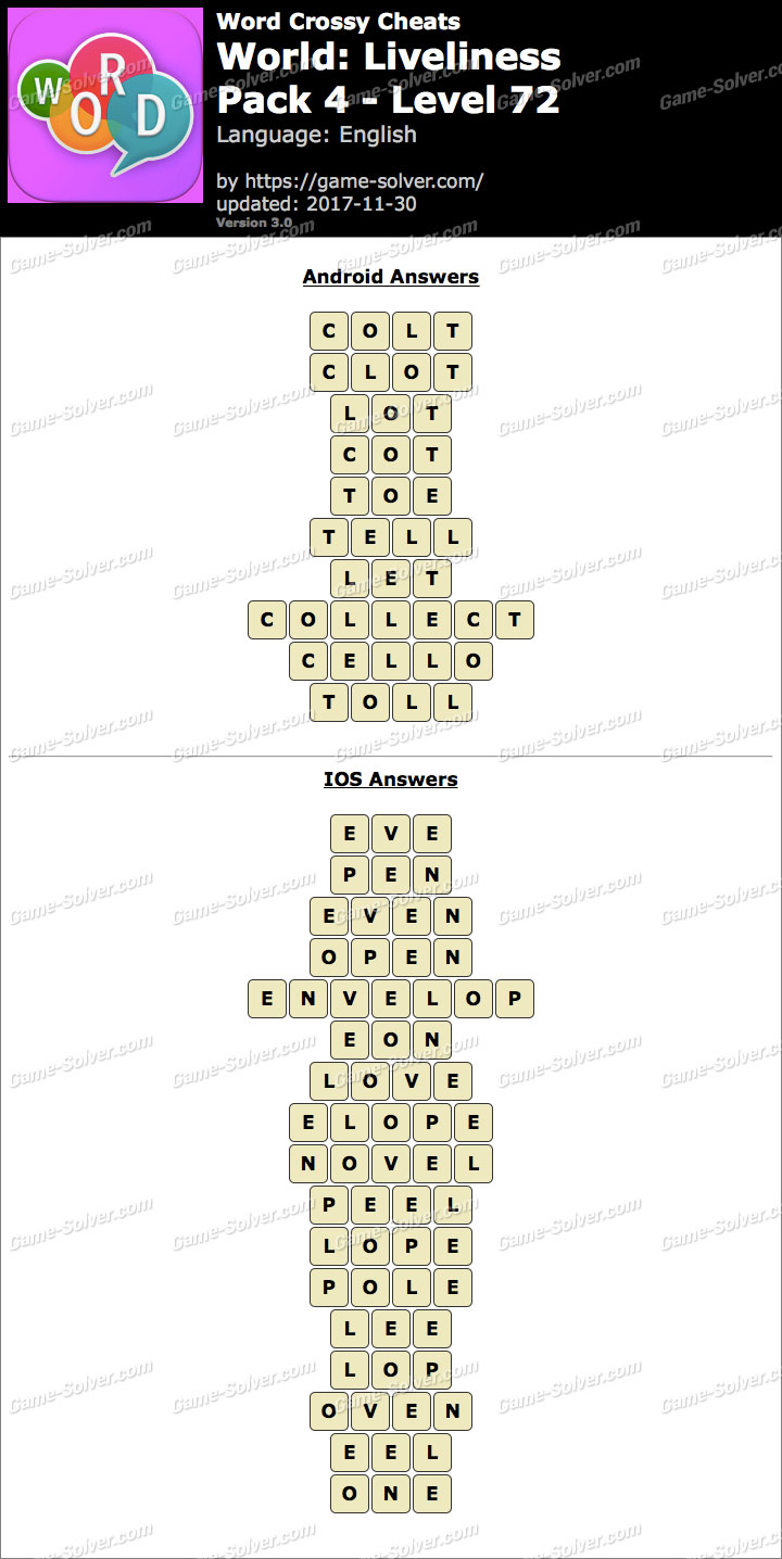 Word Crossy Liveliness Pack 4 Level 72 Answers