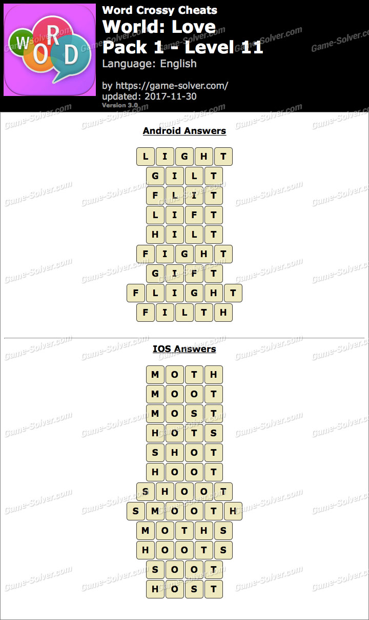 Word Crossy Love Pack 1 Level 11 Answers