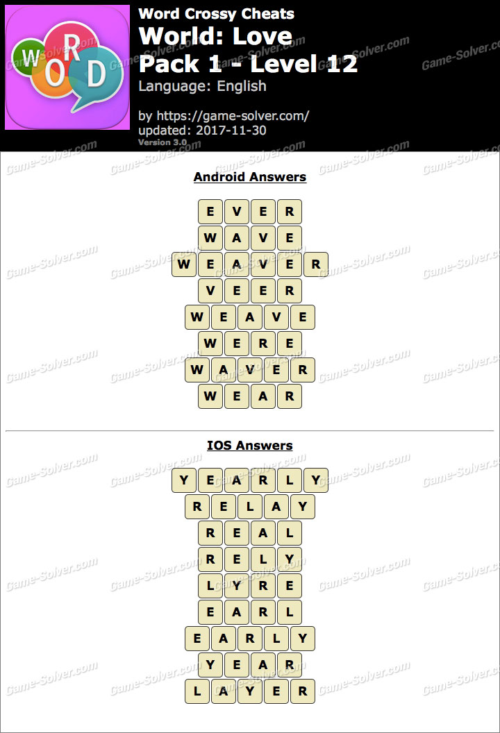 Word Crossy Love Pack 1 Level 12 Answers