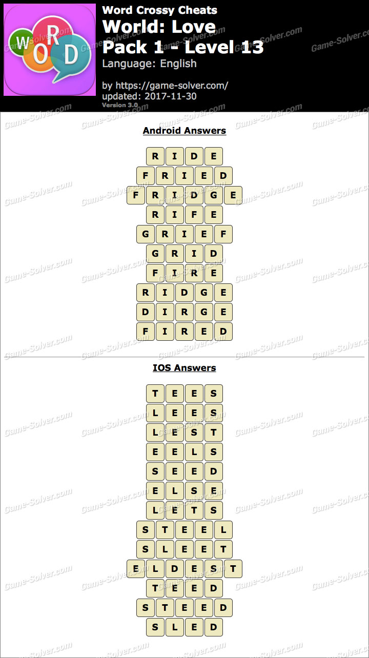 Word Crossy Love Pack 1 Level 13 Answers