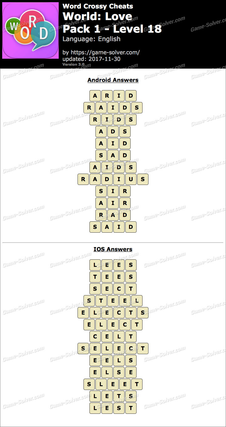 Word Crossy Love Pack 1 Level 18 Answers