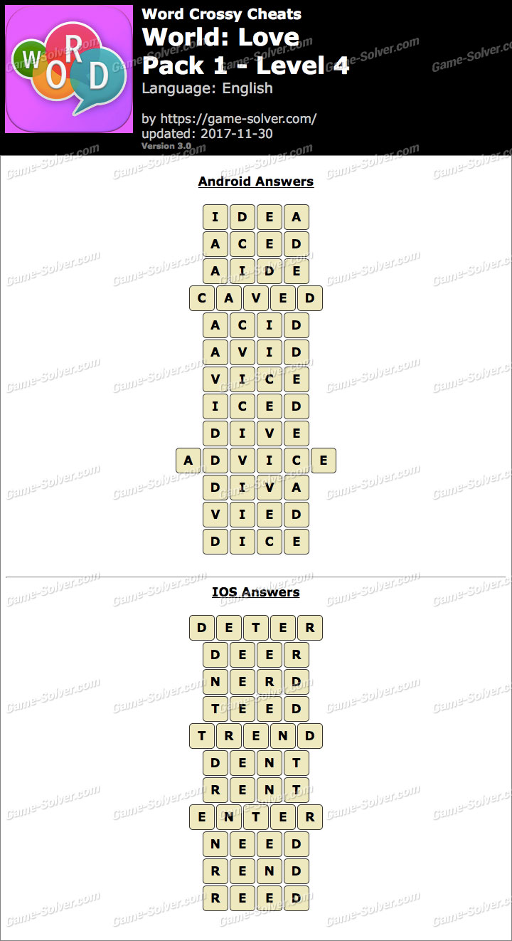 Word Crossy Love Pack 1 Level 4 Answers
