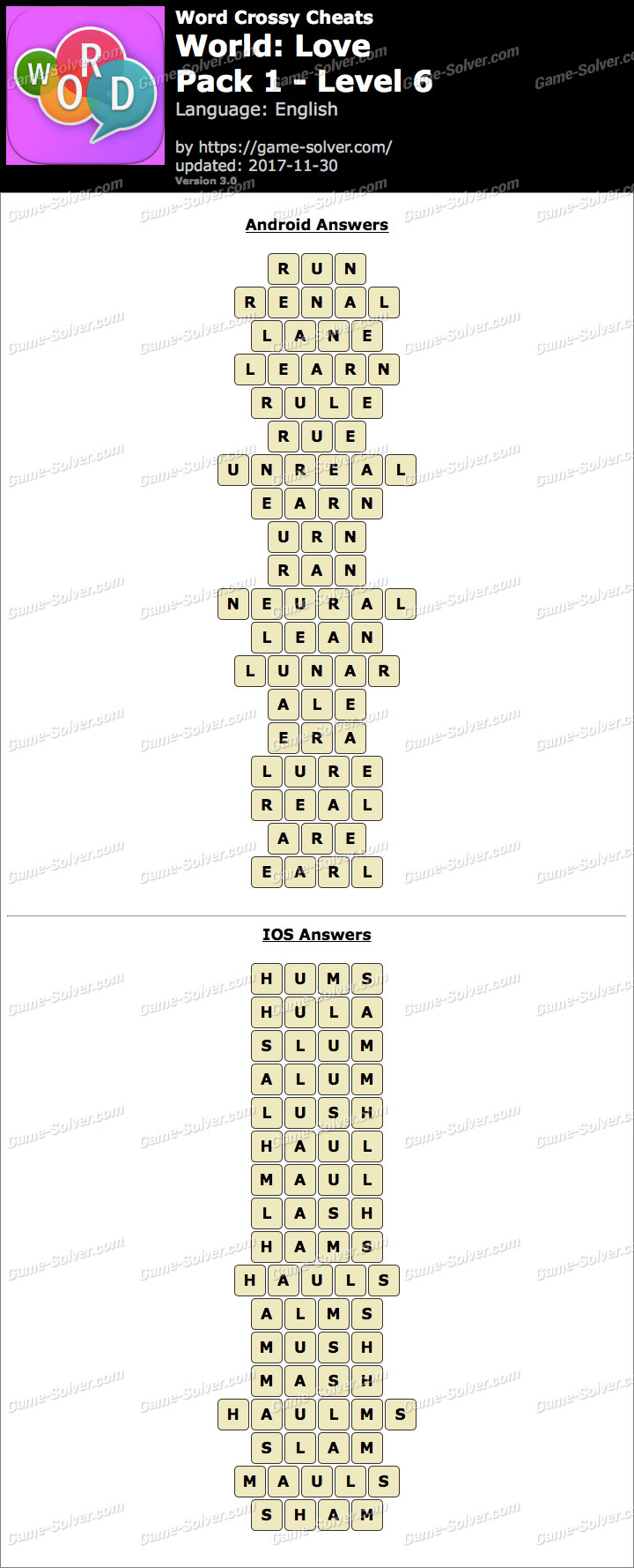 Word Crossy Love Pack 1 Level 6 Answers
