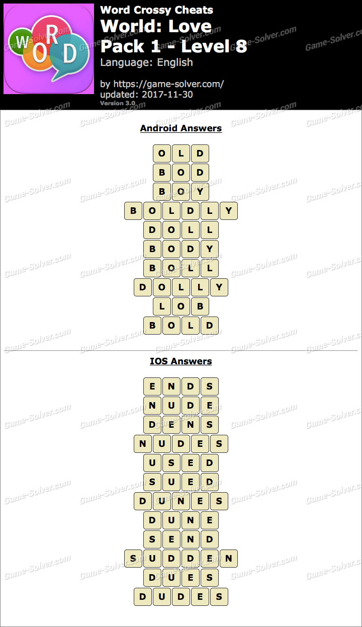 Word Crossy Love Pack 1 Level 8 Answers