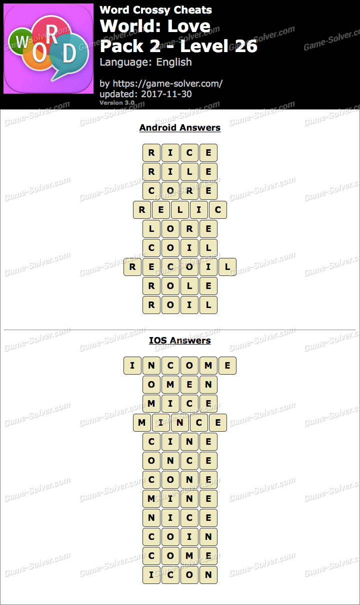 Word Crossy Love Pack 2 Level 26 Answers