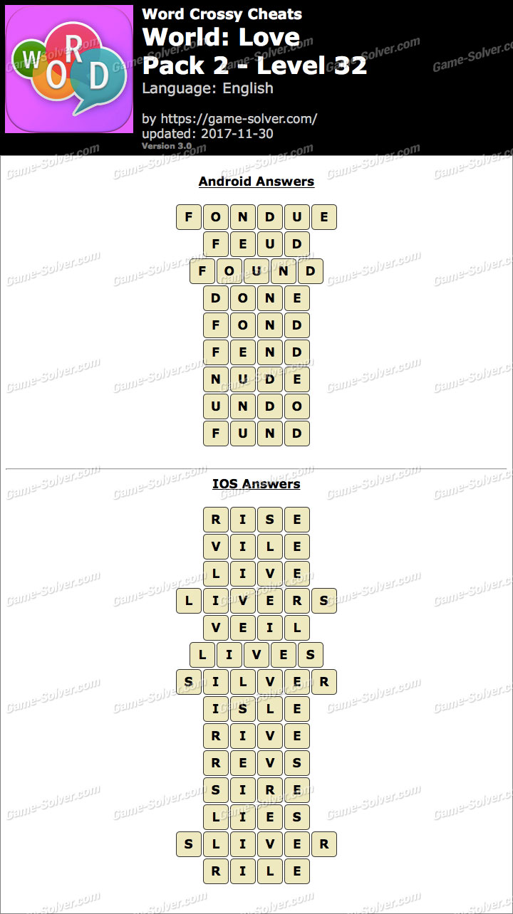 Word Crossy Love Pack 2 Level 32 Answers