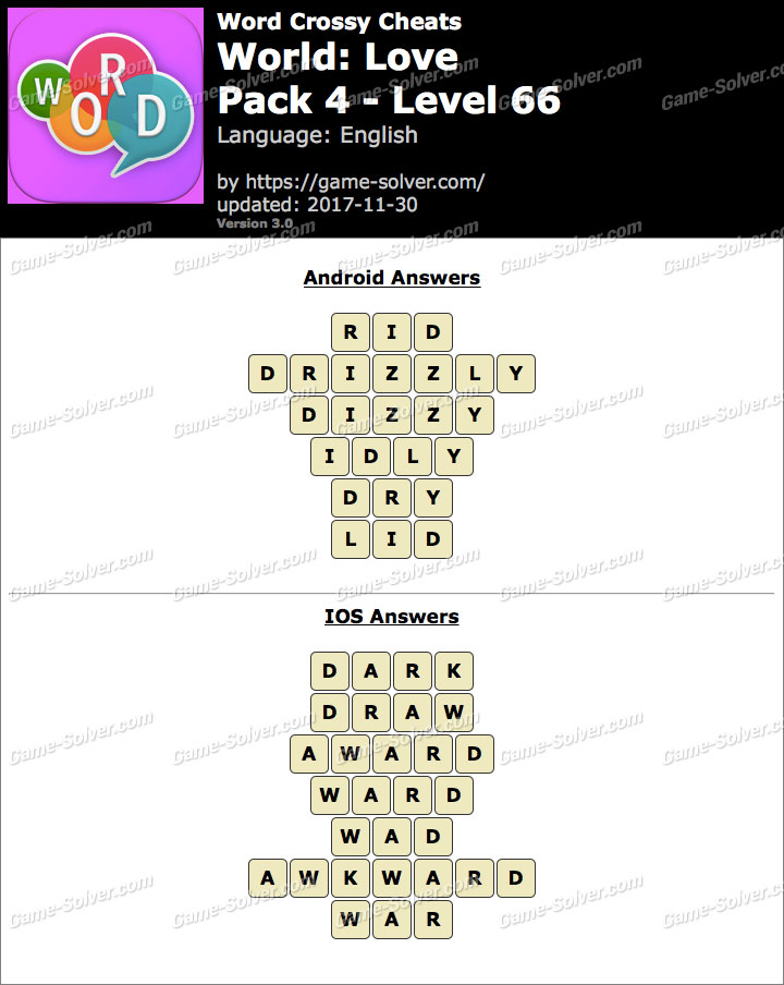 Word Crossy Love Pack 4 Level 66 Answers