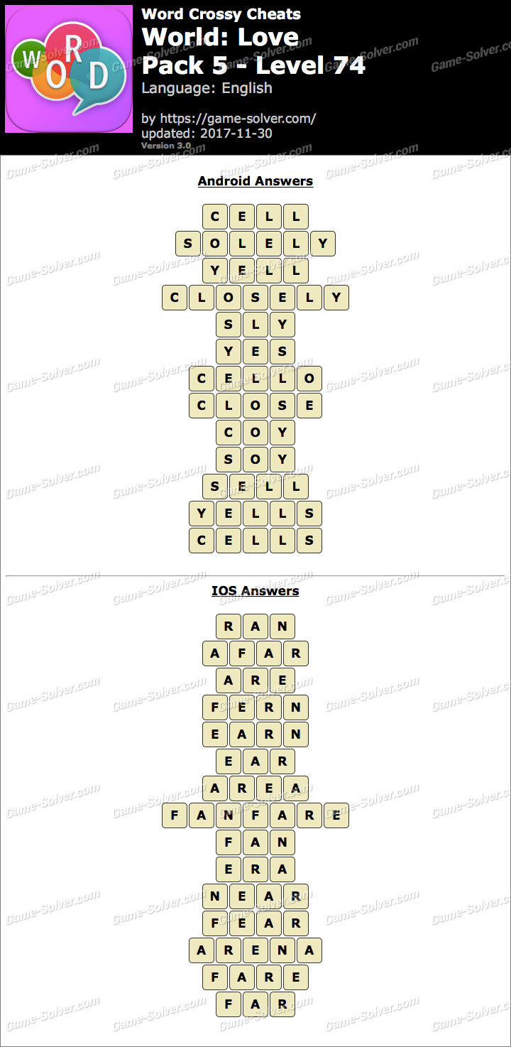 Word Crossy Love Pack 5 Level 74 Answers
