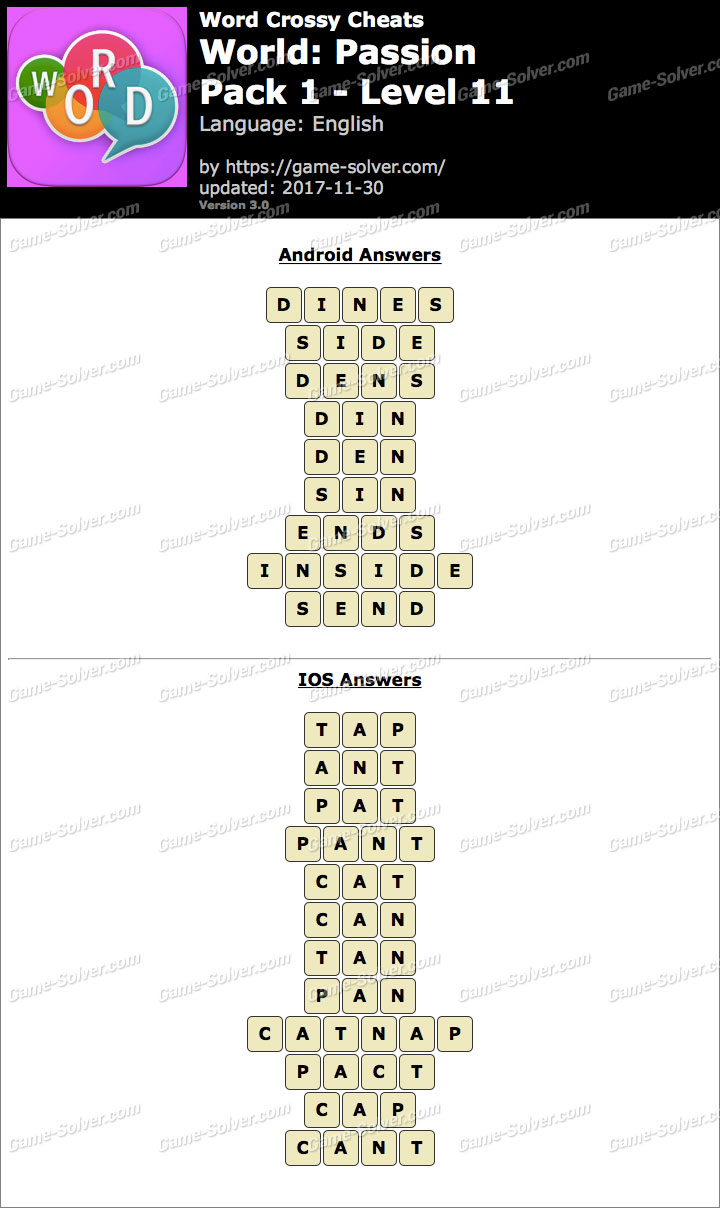 Word Crossy Passion Pack 1 Level 11 Answers