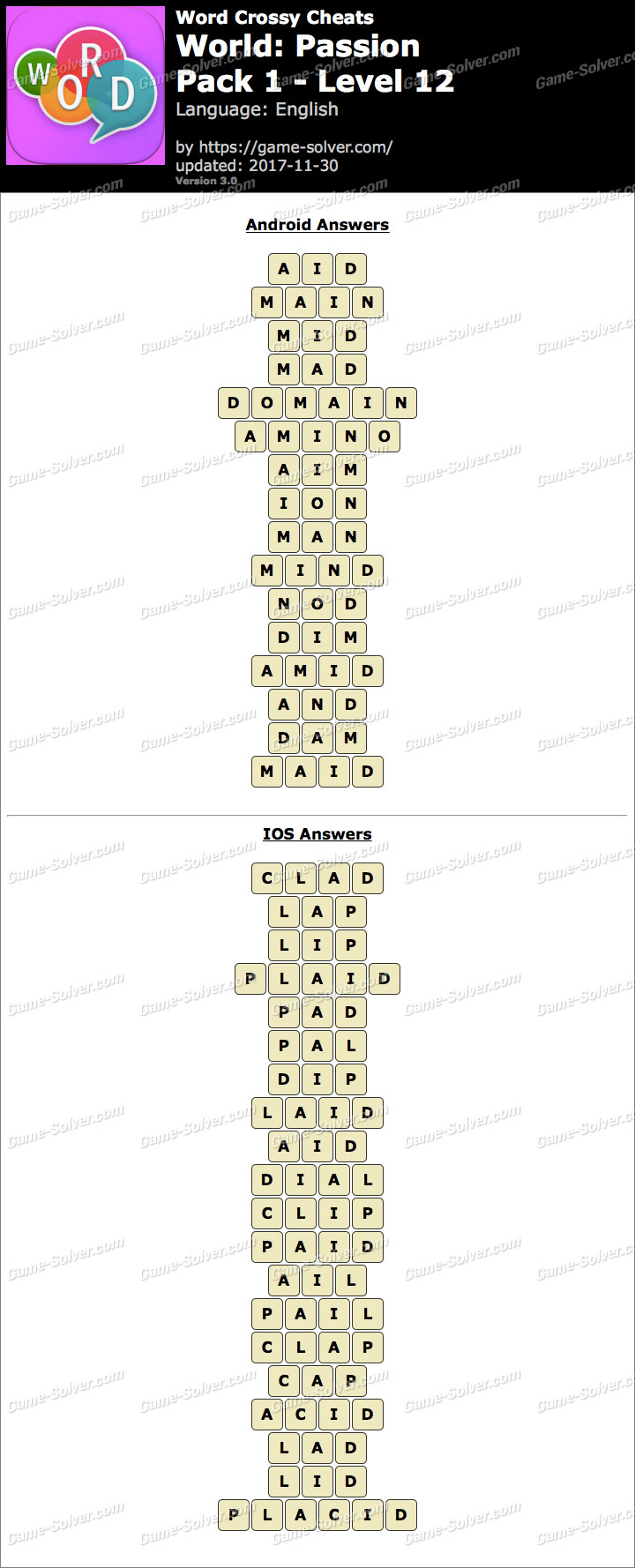 Word Crossy Passion Pack 1 Level 12 Answers