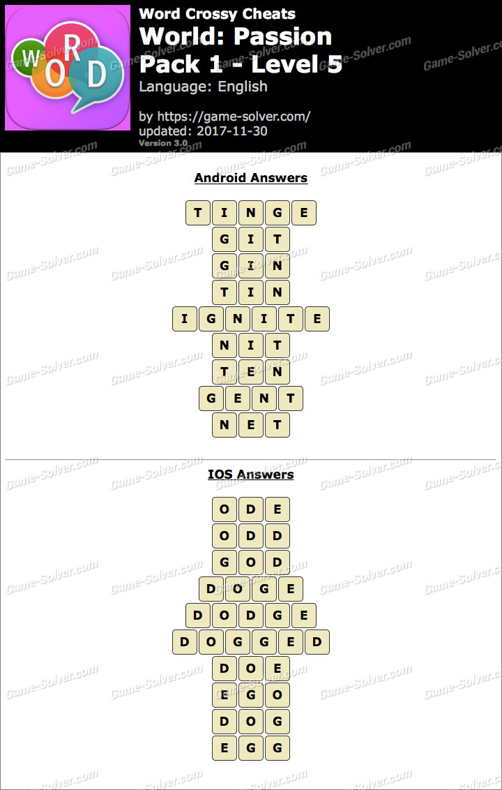 Word Crossy Passion Pack 1 Level 5 Answers