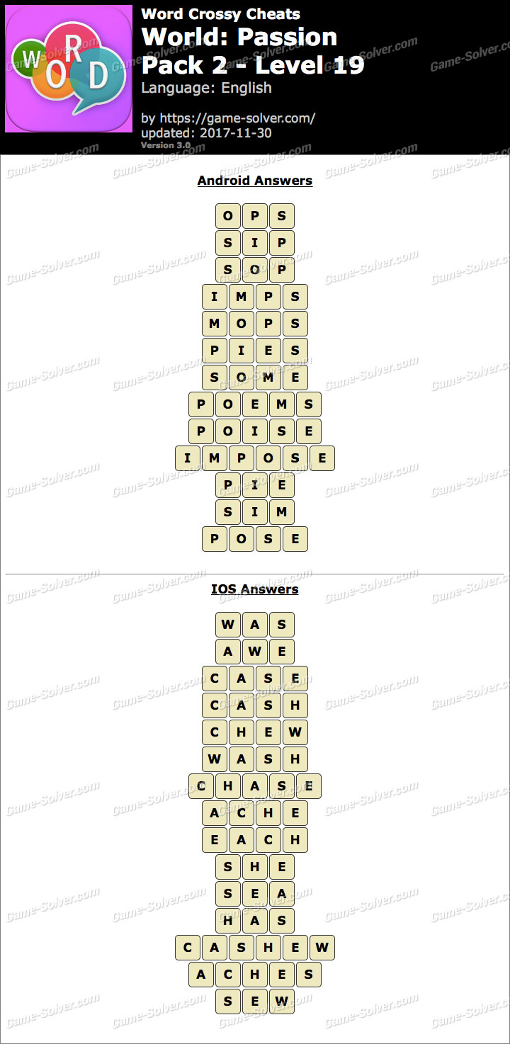 Word Crossy Passion Pack 2 Level 19 Answers