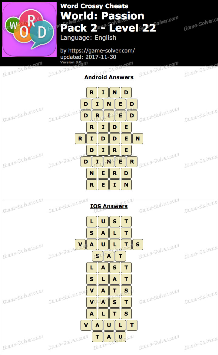 Word Crossy Passion Pack 2 Level 22 Answers