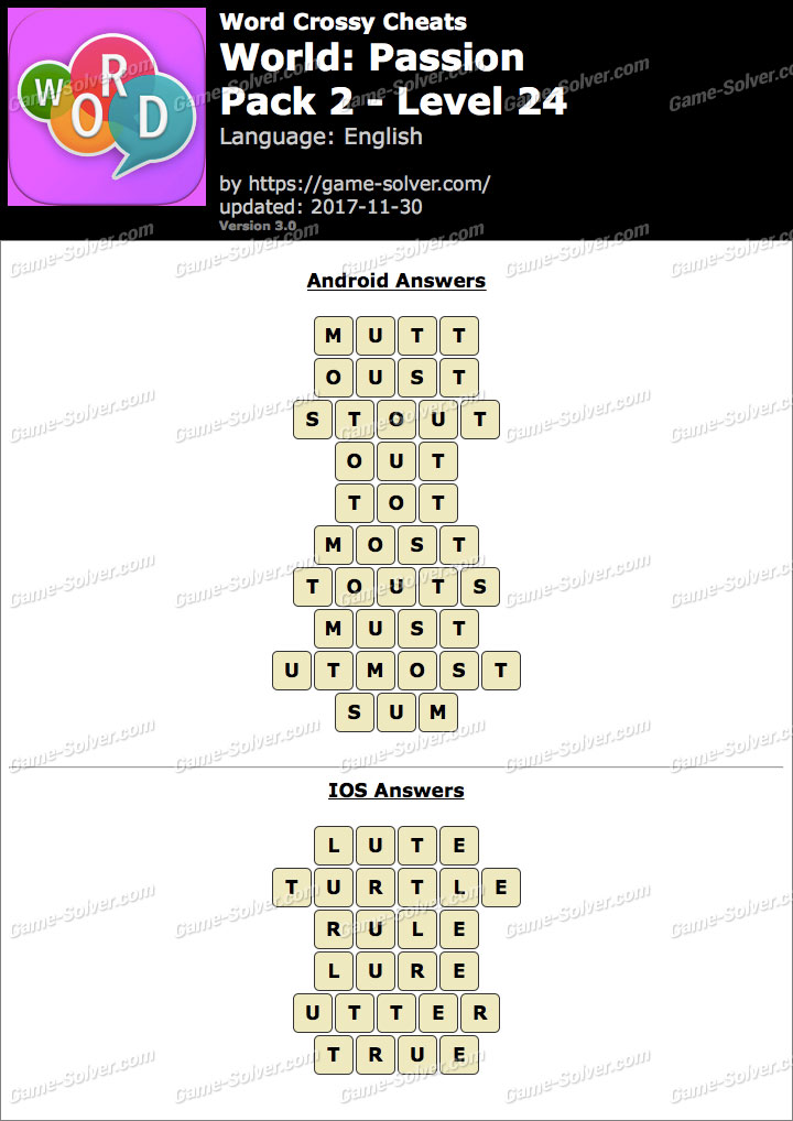 Word Crossy Passion Pack 2 Level 24 Answers