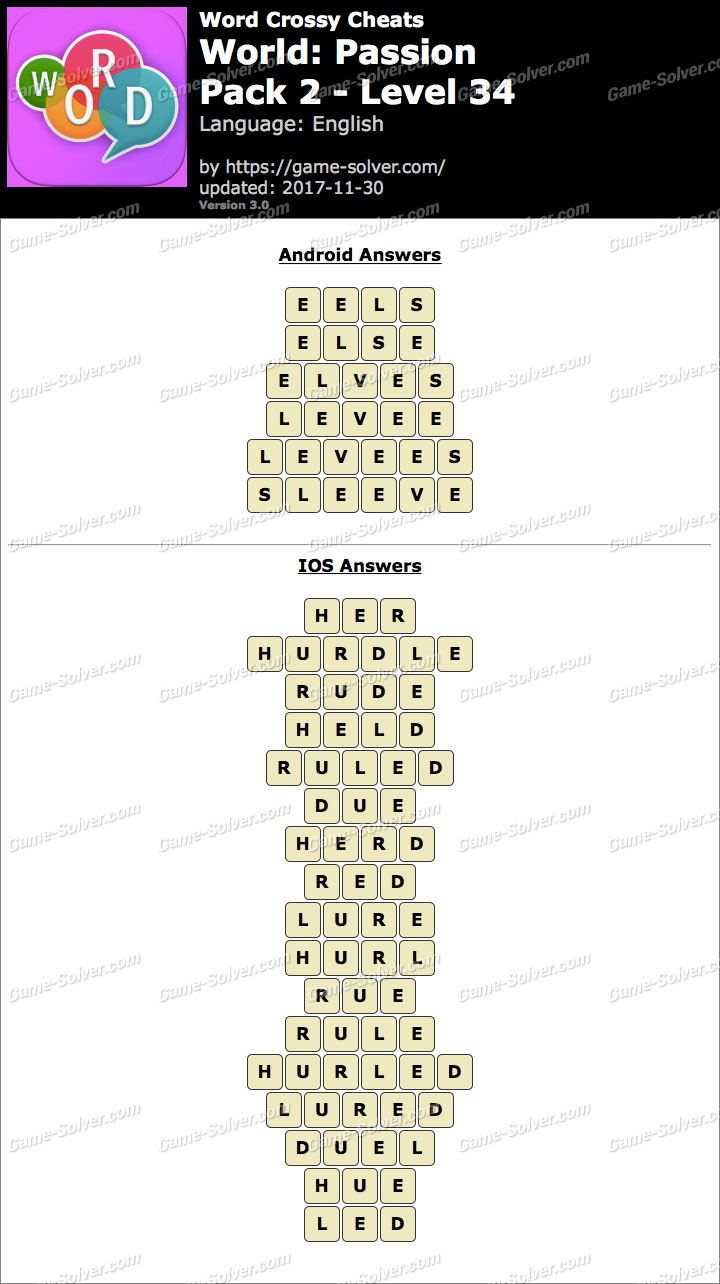 Word Crossy Passion Pack 2 Level 34 Answers