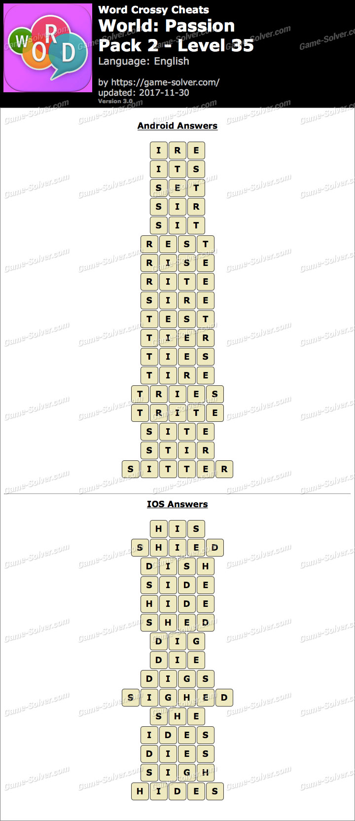 Word Crossy Passion Pack 2 Level 35 Answers