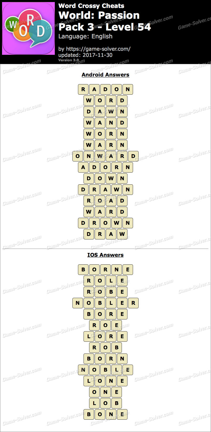 Word Crossy Passion Pack 3 Level 54 Answers