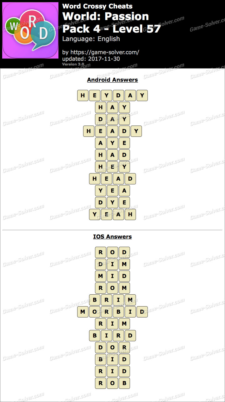 Word Crossy Passion Pack 4 Level 57 Answers