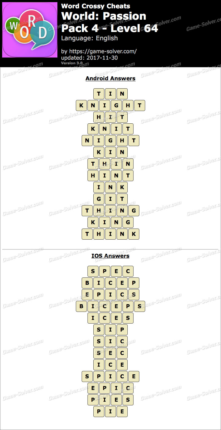 Word Crossy Passion Pack 4 Level 64 Answers
