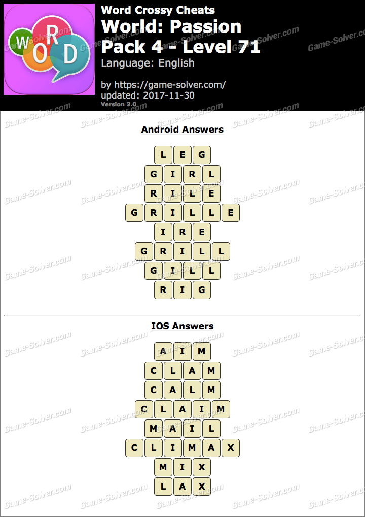 Word Crossy Passion Pack 4 Level 71 Answers