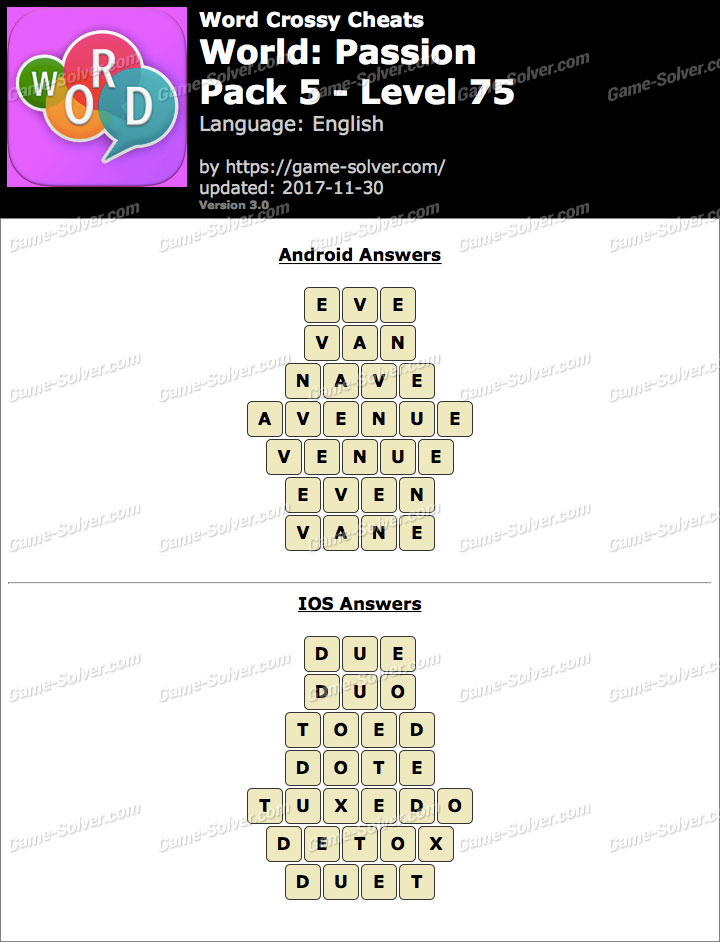 Word Crossy Passion Pack 5 Level 75 Answers