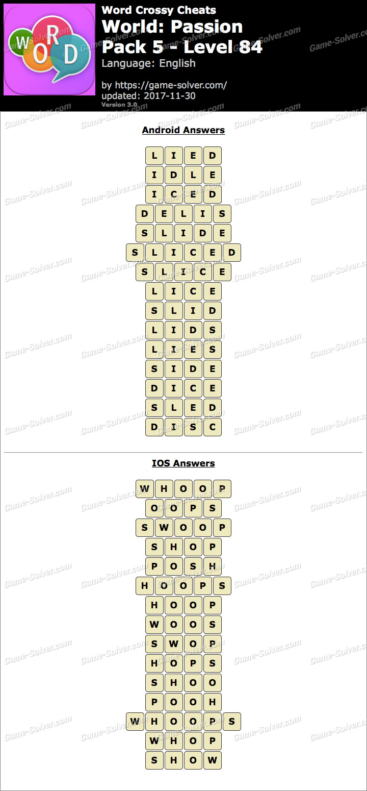 Word Crossy Passion Pack 5 Level 84 Answers