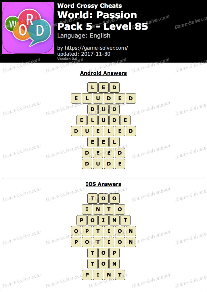 Word Crossy Passion Pack 5 Level 85 Answers