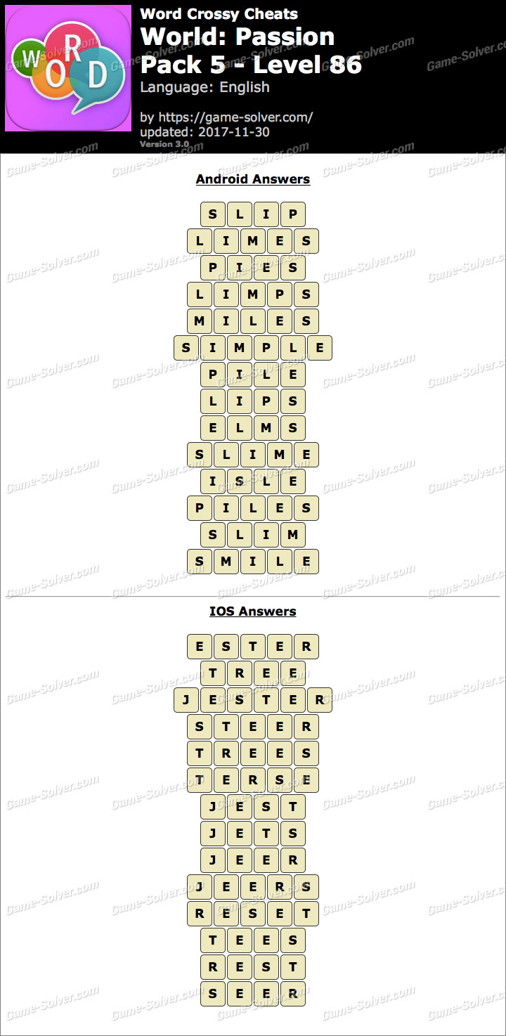 Word Crossy Passion Pack 5 Level 86 Answers