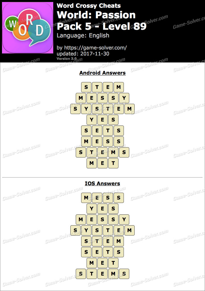 Word Crossy Passion Pack 5 Level 89 Answers