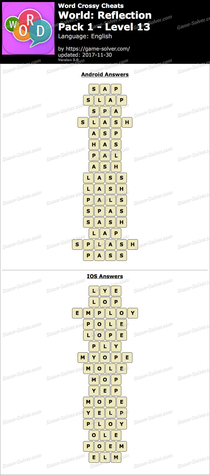 Word Crossy Reflection Pack 1 Level 13 Answers