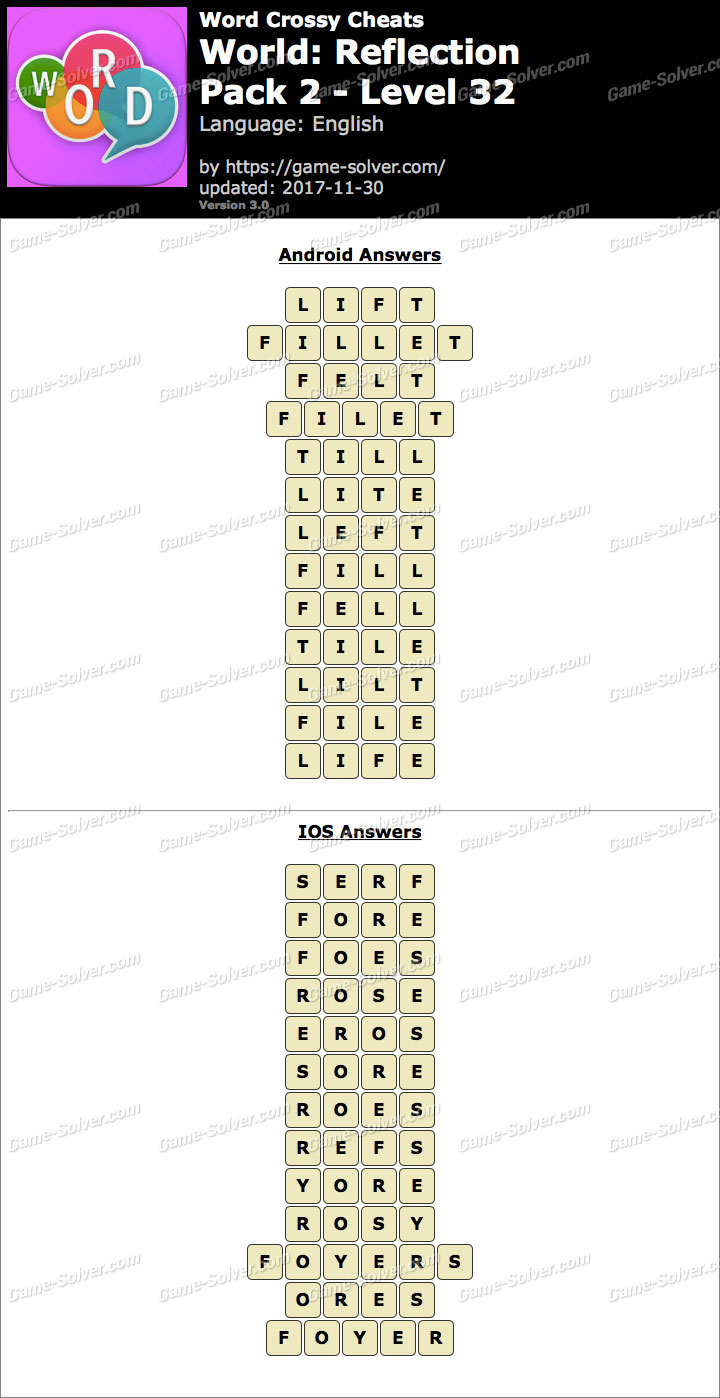 Word Crossy Reflection Pack 2 Level 32 Answers