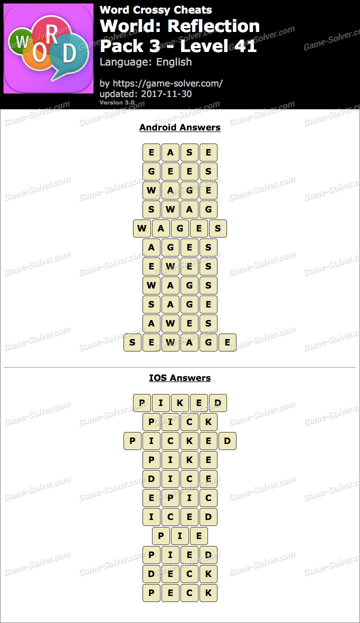 Word Crossy Reflection Pack 3 Level 41 Answers