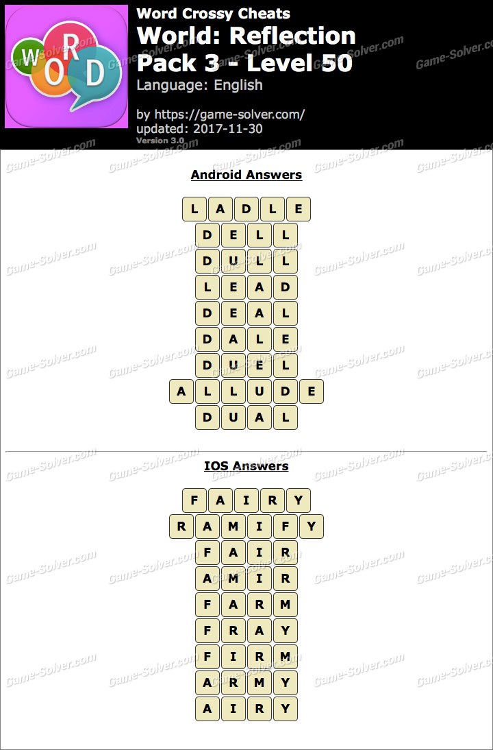 Word Crossy Reflection Pack 3 Level 50 Answers