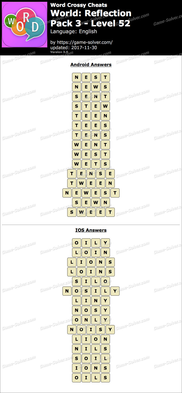 Word Crossy Reflection Pack 3 Level 52 Answers