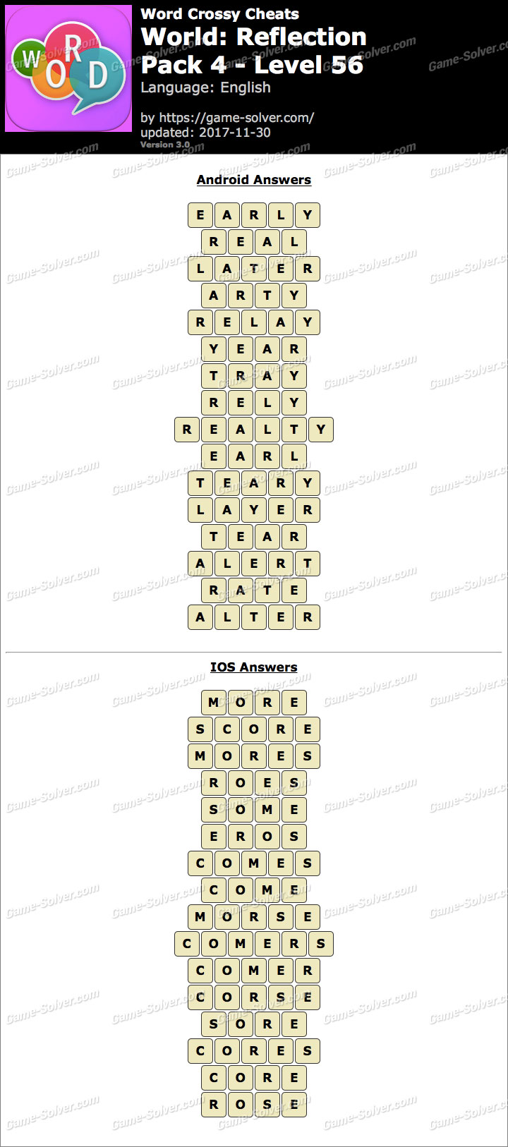 Word Crossy Reflection Pack 4 Level 56 Answers