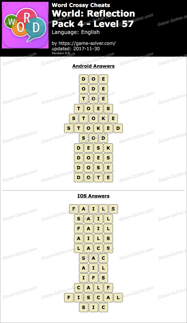 Word Crossy Reflection Pack 4 Level 57 Answers