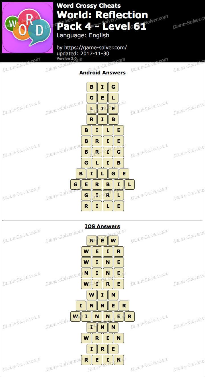 Word Crossy Reflection Pack 4 Level 61 Answers