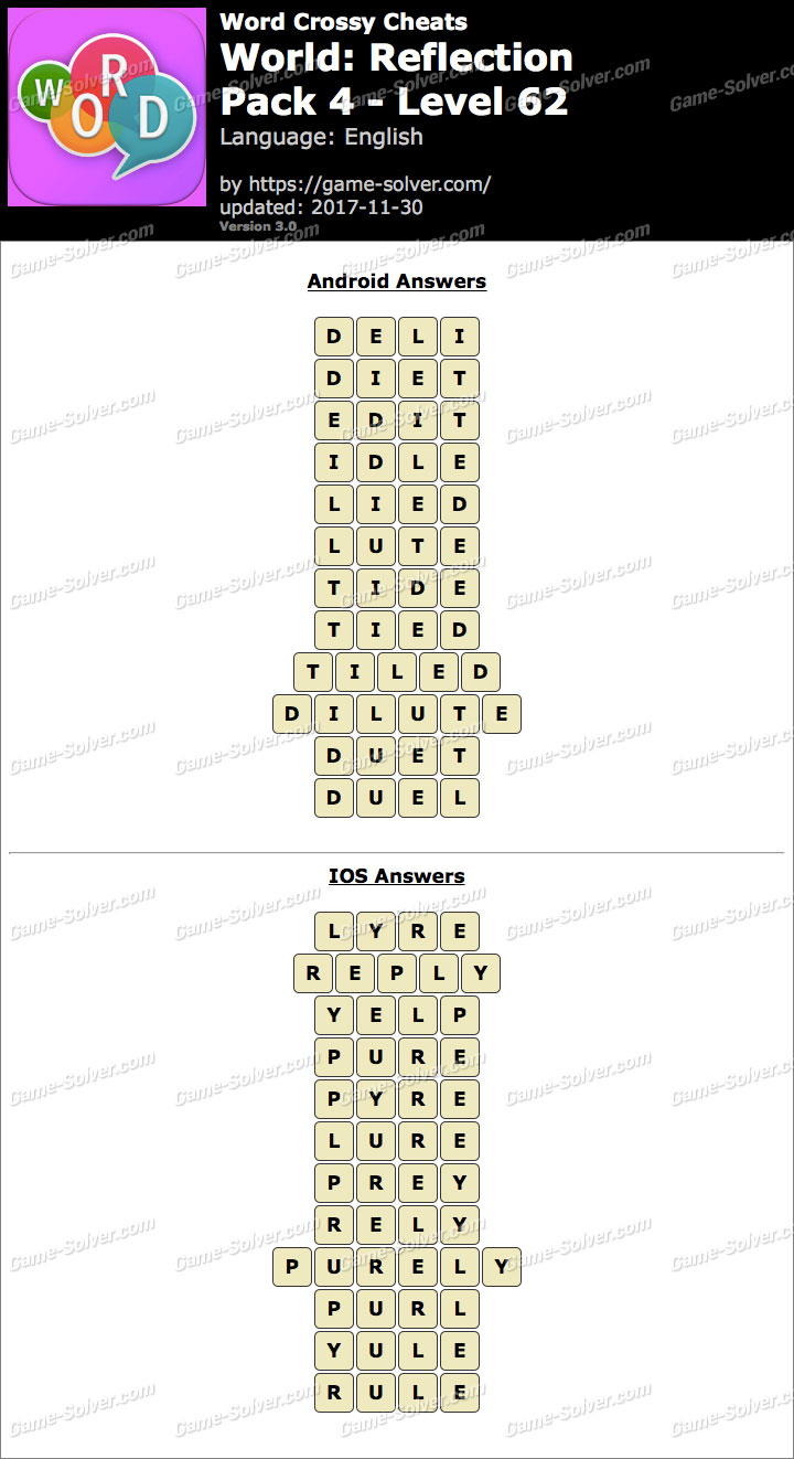 Word Crossy Reflection Pack 4 Level 62 Answers