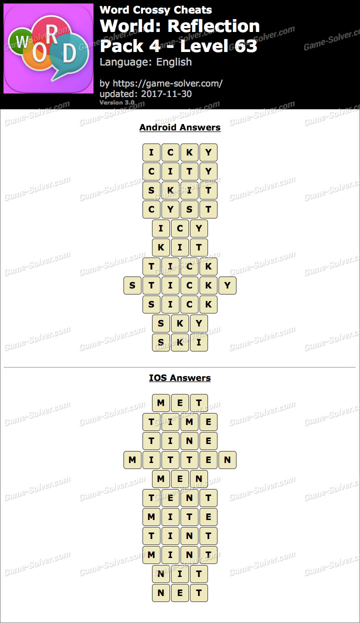 Word Crossy Reflection Pack 4 Level 63 Answers