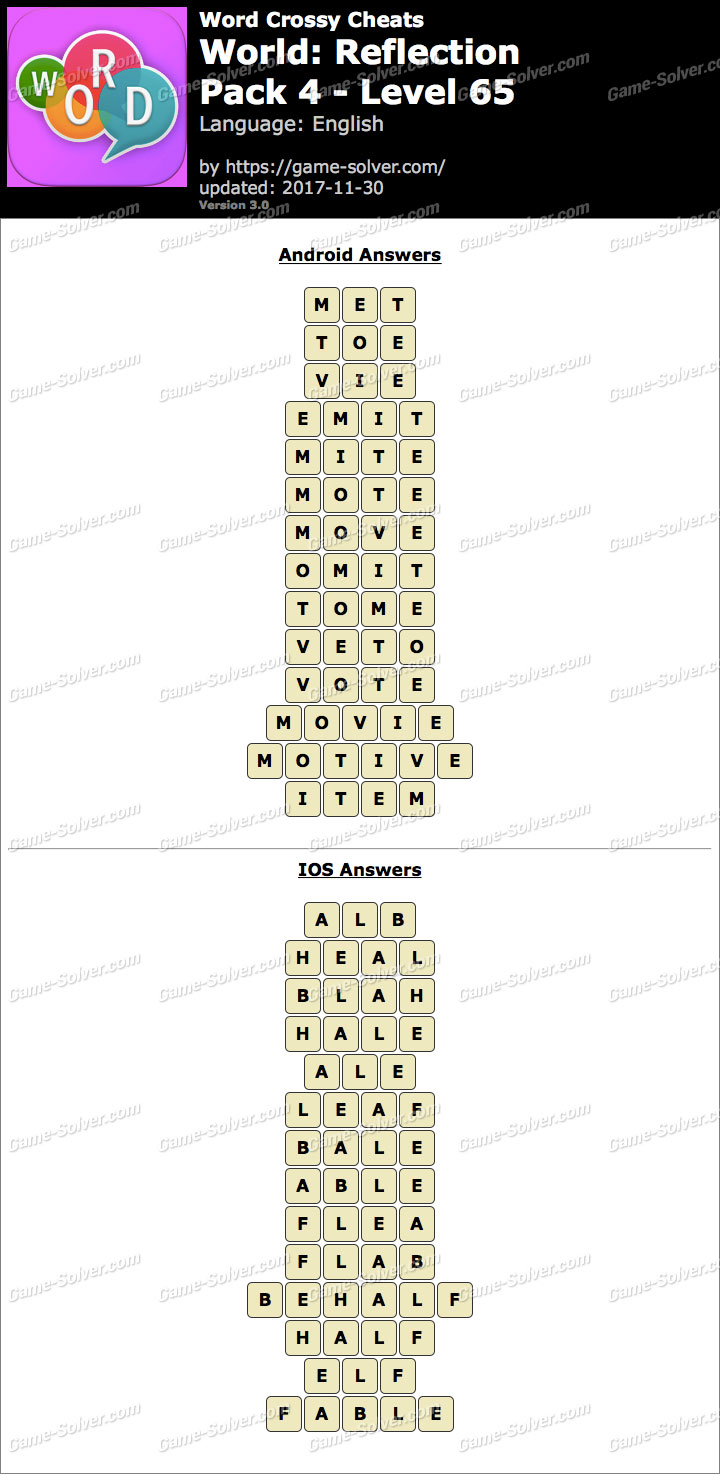 Word Crossy Reflection Pack 4 Level 65 Answers