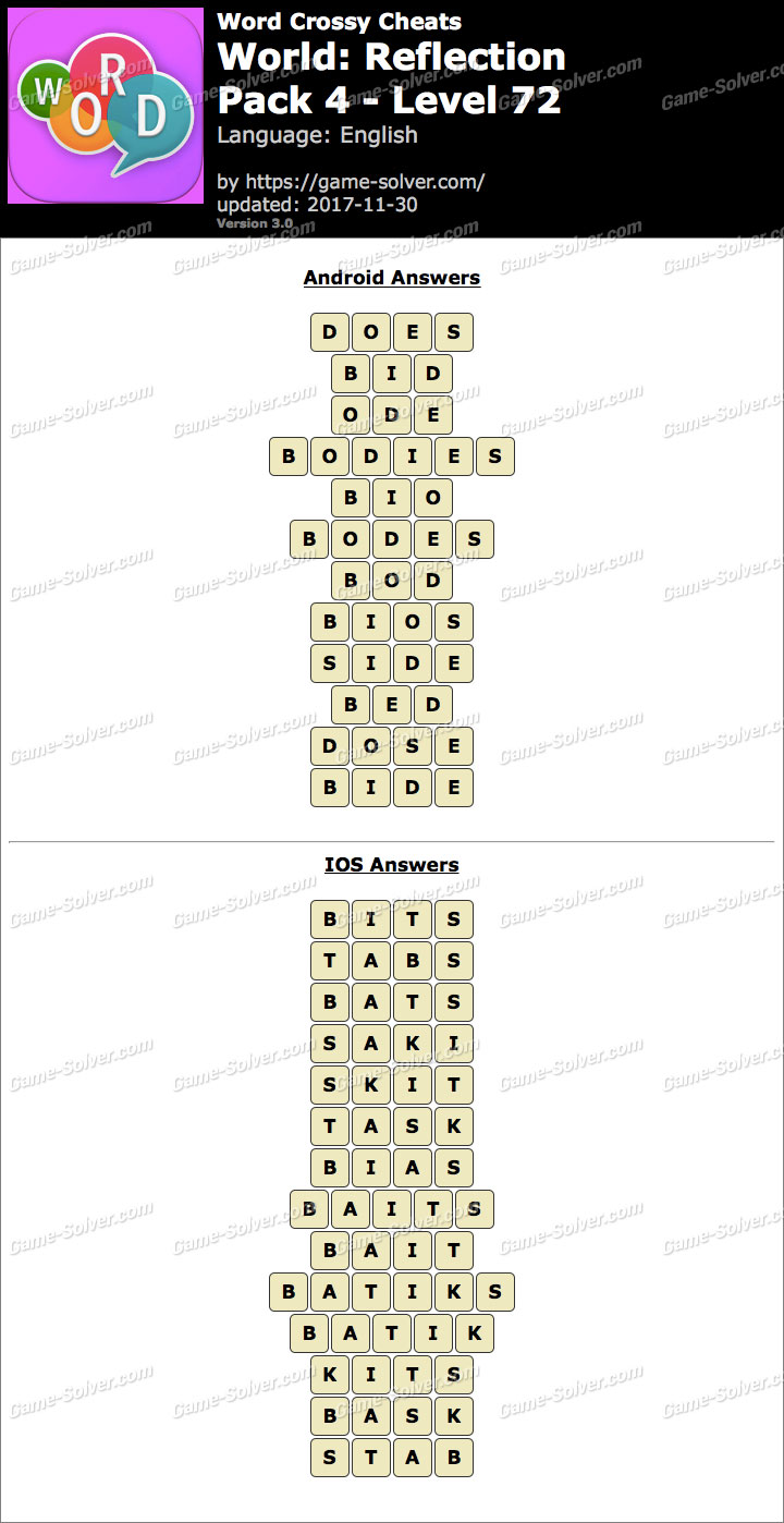 Word Crossy Reflection Pack 4 Level 72 Answers