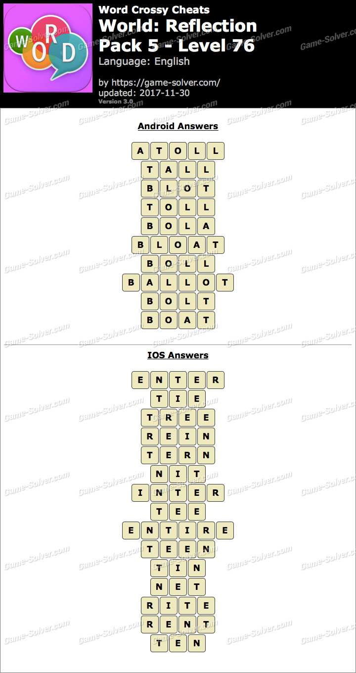 Word Crossy Reflection Pack 5 Level 76 Answers