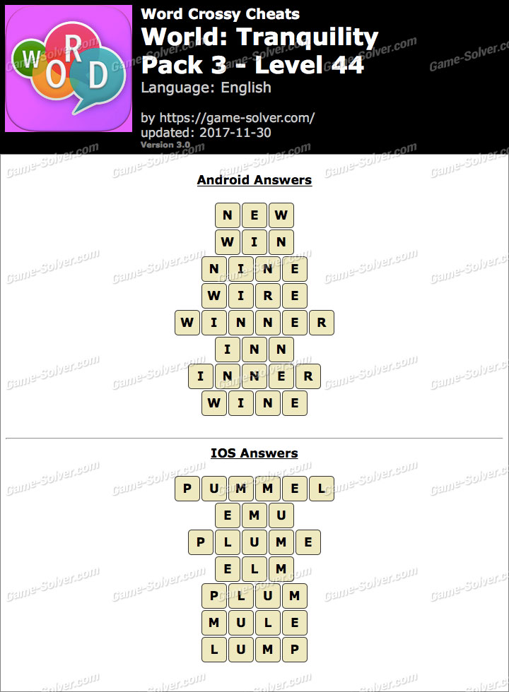 Word Crossy Tranquility Pack 3 Level 44 Answers