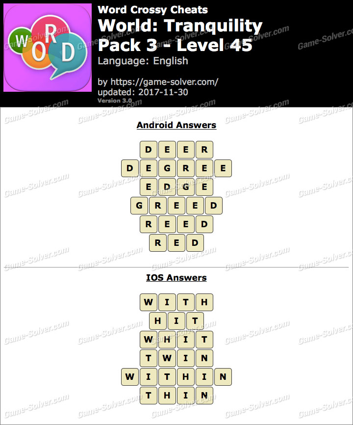 Word Crossy Tranquility Pack 3 Level 45 Answers