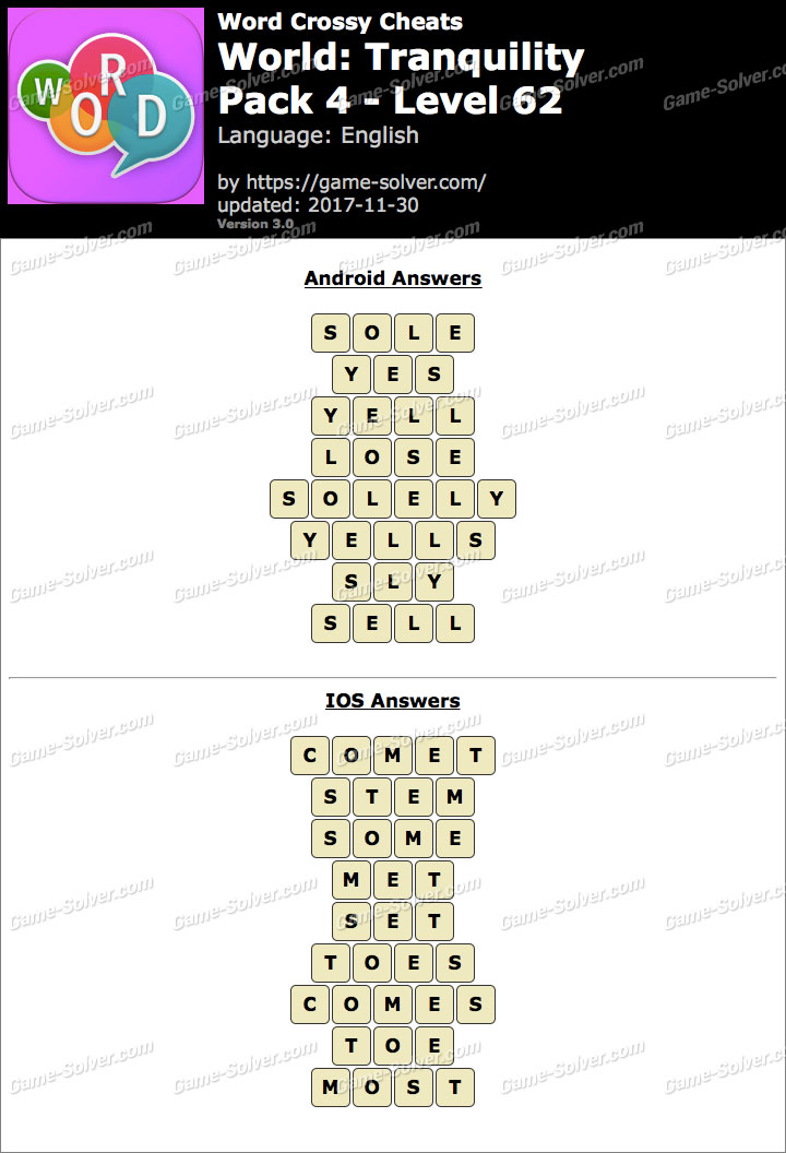 Word Crossy Tranquility Pack 4 Level 62 Answers