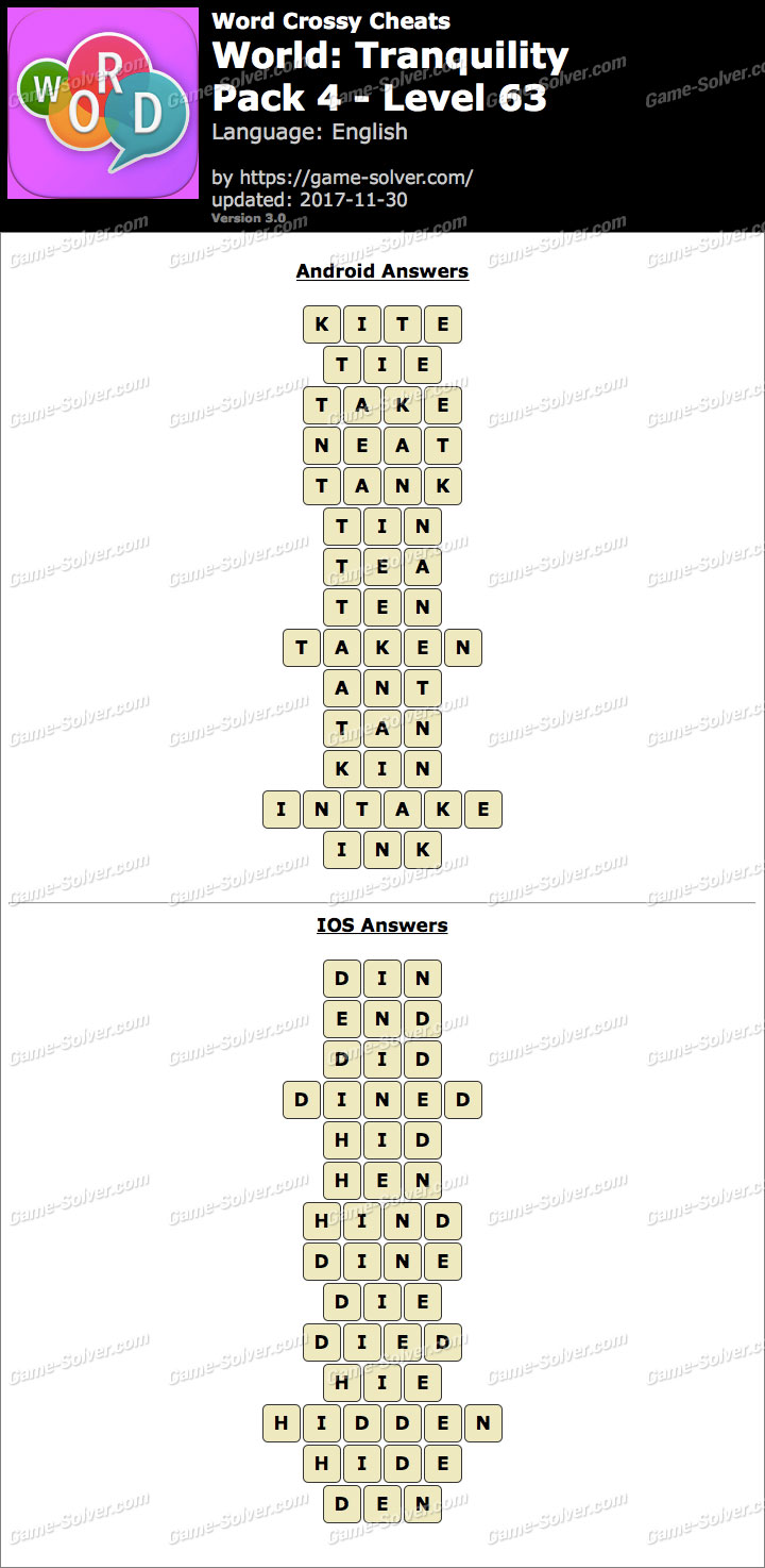 Word Crossy Tranquility Pack 4 Level 63 Answers