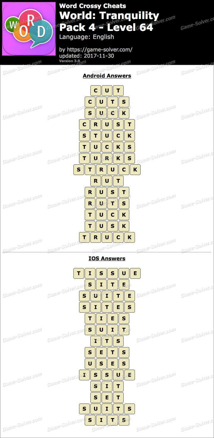 Word Crossy Tranquility Pack 4 Level 64 Answers